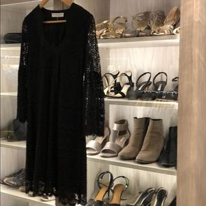 Trina Turk black lace scoop front dress
